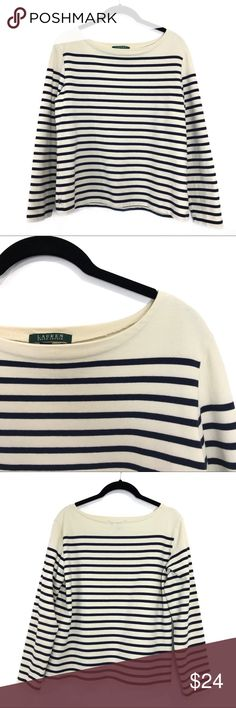 "{Lauren RL} Cream & Navy Boatneck Striped Top, LG A classic striped top from Mr. Ralph Lauren never goes out of style. This one is cream with navy stripes. My eyes may be playing tricks on me, but I think the collar is a little more yellow than the bottom of the shirt - see 6th pic. I wanted to err on the safe side and mention it. It's in excellent condition overall. All measurements were taken laying flat and are approximate: 22.5"" long, 22"" sleeve, 19"" chest. 100% cotton and machine…"
