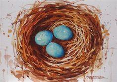 """Daily Paintworks - """"Three In The Nest"""" - Original Fine Art for Sale - © Karen Werner"""