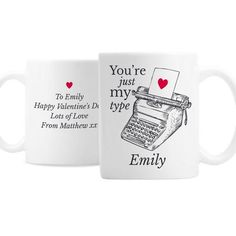 The Big Card Company Personalised Just My Type Valentines Mug Valentines Mugs, Valentine Day Gifts, Personalized Valentine's Day Gifts, Character Words, Card Companies, Ceramic Mugs, Just Me, Special Gifts, Unique Gifts