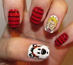 Calvin & Hobbes Nail Art. Two of my favorite childhood reads...and adulthood. #nails #cartoon