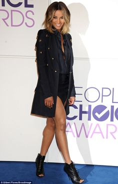 Sexy and stylish: Ciara wore her blonde bob loose and tousled and added a sexy sheen to her skin for the occasion