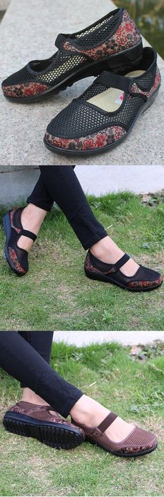 Big Size Mesh Breathable Flower Printing Wedge Heel Loafers