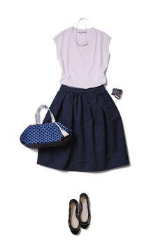 Navy and violet Cute Fashion, Skirt Fashion, Daily Fashion, Spring Fashion, Autumn Fashion, Fashion Outfits, Womens Fashion, Tokyo Fashion, Office Fashion