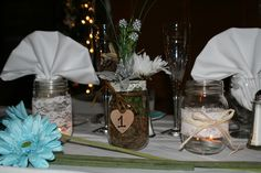 Rustic country wedding table centerpiece