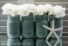Painted Mason Jar - Annie Sloan Duck Egg Blue The exteriors have been sprayed with a satin enamel protective coat.