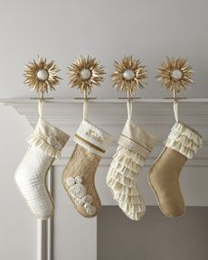 """""""Champagne Frost"""" Christmas Stockings at Neiman Marcus. Merry Christmas, Classy Christmas, Silver Christmas, All Things Christmas, Christmas Holidays, Christmas Crafts, Christmas Ideas, Beach Christmas, Christmas Wrapping"""