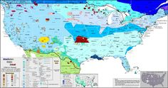 U.S.A - Map of all languages in USA — North American English dialects and accents, indigenous languages