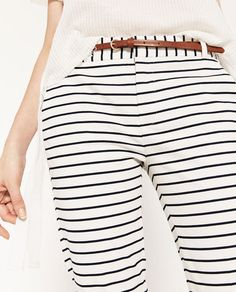 Image 7 of STRIPED TROUSERS WITH BELT from Zara
