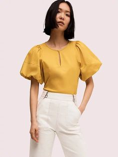 Kate Spade Puff Sleeve Poplin Blouse In Chartreuse Sleeve Designs, Blouse Designs, Ruffle Collar, Ruffle Blouse, Work Tops, Short Sleeve Blouse, Fashion Outfits, Womens Fashion, Poplin