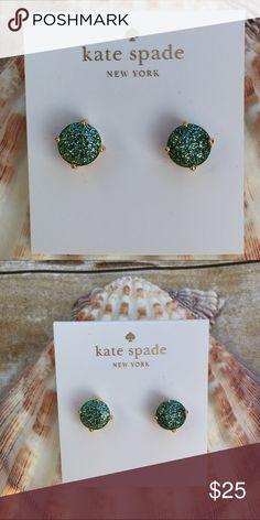 "Kate Spade Glitter Stud Earrings Kate Spade Glitter Round Stud Earrings    Approx. 6/16"" H x 6/16"" x L  High polished gold tone setting  Dust bag included  100% Authentic - PRICE IS FIRM kate spade Jewelry Earrings"