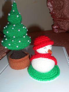 Crochet Tree and Snowman pincushions