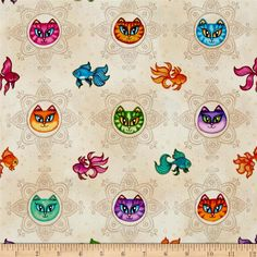 """Designed by Dan Morris for Quilting Treasures this cotton print is """"Purr-Fect"""" for apparel, quilting and Home decor accents. The print features multi colored cats and fish over faint mandala designs. Colors include black, purple, royal blue, dark magenta, aqua, lavender, kelly green, pink, taupe, orange, light tan, golden yellow, sea green, light pink and light yellow."""