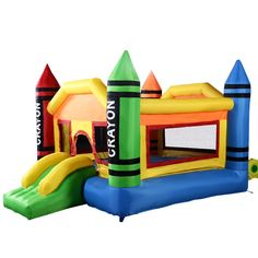 Costzon Inflatable Crayon Bounce House Castle Jumper Moonwalk Bouncer Without Blower. Costzon Inflatable Crayon Bounce House Castle Jumper Moonwalk Bouncer Without Blower. Inflatable Bounce House, Inflatable Bouncers, Outdoor Toys For Kids, Outdoor Fun, Bouncer For Kids, Jumper, Play Houses, Playground, Things That Bounce