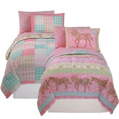 @Overstock - Update your little girl's room with this reversible bedding set Kids' bed set features colors of pink, green and blue Comforter and sham feature horses one side and are reversible to a plaid quilt patternhttp://www.overstock.com/Bedding-Bath/Cow-Girl-Pink-5-piece-Bed-in-a-Bag-with-Sheet-Set/3199856/product.html?CID=214117 CAD              79.84