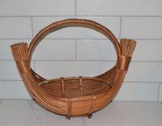 Vintage Gathering Basket Boho Eclectic Rattan, Wicker, Art Deco Vanity, Vintage Baskets, Vintage Closet, Hanging Mobile, Vintage Walls, Flower Wall, Flower Decorations