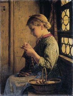 Swiss Genre Painter Albert Anker (1831-1910) nothing changed , same hair fashion , same hobbies ;)