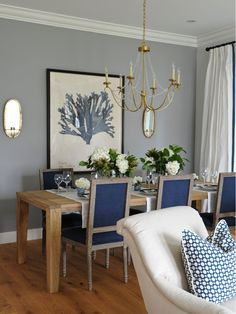I love the colors in this dining room area! | Karla Amadatsu Design