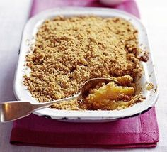 Apple flapjack crumble at BBC Good Food. Made it, recommended. Also good with assorted berries and flaked almonds in the crumble.