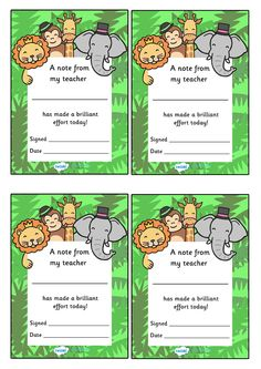 Twinkl Resources >> Note From Teacher Brilliant Effort Jungle Themed  >> Classroom printables for Pre-School, Kindergarten, Primary School and beyond! note from teacher, notes, praise, comment, teacher, parent