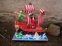 Peter Pan, captain Hook and his 3D Jolly Roger - Cake by Eliska