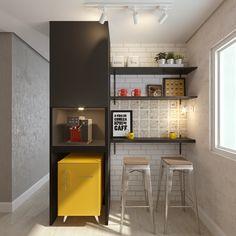 Cantinho do Café e Bar - Pantry ,Store - Office Cubicle Design, Office Wall Design, Coffee Nook, Coffee Bar Home, Kitchenette, Mini Cafeteria, Barber Shop Decor, Small Balcony Decor, Small House Interior Design