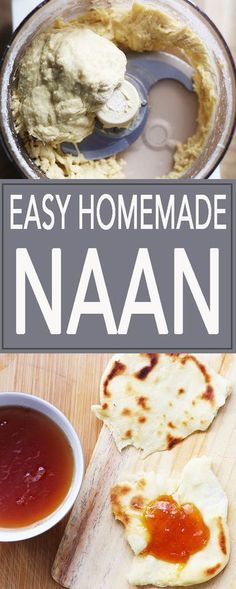 Easy Homemade Naan, in a food processor. Soft, pillowy flatbread perfect for every occasion.   FusionCraftiness.com   Naan   flatbread   Indian food   bread   easy recipe   nan