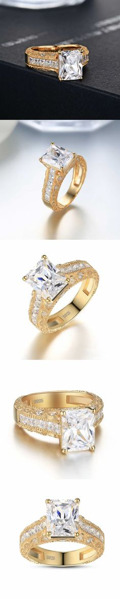 Lajerrio Jewelry Emerald Cut White Sapphire Gold S925 Engagement Ring