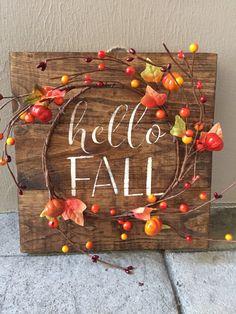 Rustic Fall Wood Pallet Sign w/ berry pumpkin garland fall