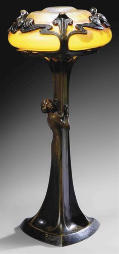 Art Nouveau Iridescent Art-Glass shade and Patinated Bronze Figural Table Lamp (c.1900) Loetz, Austria♥•♥•♥