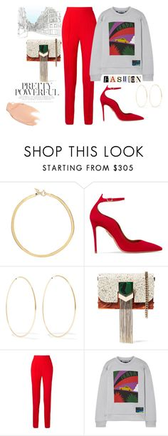 """Red Morning"" by rinabery ❤ liked on Polyvore featuring Loren Stewart, Aquazzura, Jimmy Choo, Khaite, Prada and Too Faced Cosmetics"