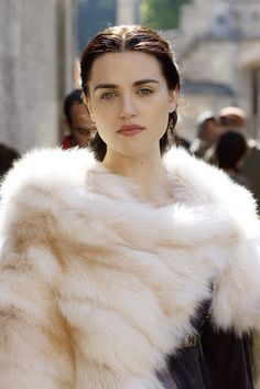 Katie McGrath (Morgana) only person who can pull of a big fluffy poncho made out of animal fur