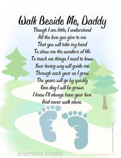 Walk Beside Me Daddy©  Footprint Poem Personalize with Baby's / Child's Footprints ~ New FATHER'S Day Shower Christmas Gift
