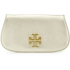 Tory Burch Britten Metallic Saffiano Leather Clutch Bag ($350) ❤ liked on Polyvore featuring bags, handbags, clutches, gold, tory burch purse, tory burch, tory burch clutches, white purse and metallic purse