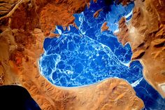 frozen lake in Himalayas (Scott Kelly's picture from the space)