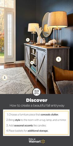 Create a elegant entryway with home décor from Better Homes & Gardens at Walmart. #fall #fallentryway #fallentrywaydecor #fallstyle #fallhomedecor #entryway #entrywayideas #entrywaydecor #entrywaytable