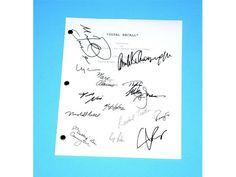 Total Recall 1990 Movie Script Signed: Arnold Schwarzenegger, Sharon Stone, Ronny Cox, Rachel Ticotin, Michael Ironside, Marshall Bell...