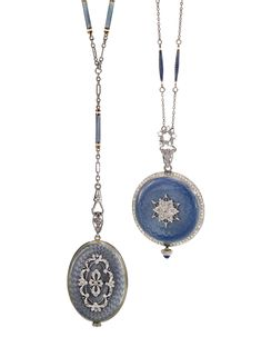 Agassiz Watch Co. And Swiss - Two Lady's 18k Yellow Gold, Platinum, Enamel And Diamond-Set Pendant Watch, Cases With Translucent Blue Enamel Over An Engine-Turned Ground, Diamond-Set Bezel, Band And Decoration To The Case Back, Both With Matching Chains    c.1910   -   Sotheby's