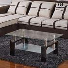 New Black Rectangular Glass Coffee Table Shelf Wood Chrome Living Room Furniture