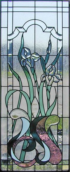 beveled glass windows | stained and leaded glass beveled Iris window.