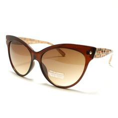 Brown Wayfarer Style Cat Eye Sunglasses With Leopard Pattern Temples 106Shades. $9.90