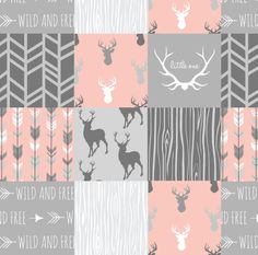 Girls Deer Quilt Fabric  Coral And Grey Deer A Patchwork