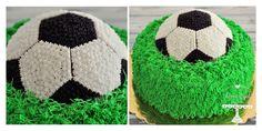 Soccer ball decorated cream cake