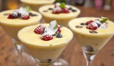 White Chocolate and Passionfruit Mousse - Good Chef Bad Chef Cooking Tv, Cooking Recipes, Just Desserts, Dessert Recipes, Trifle Desserts, Fancy Desserts, Chocolates, Passionfruit Recipes, White Chocolate Mousse
