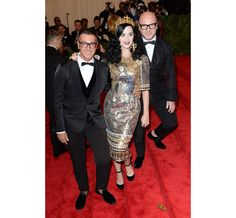 2013 Met ball Met gala Costume Institute New York PUNK: Chaos to Couture Stefano Gabbana, Domenico Dolce and Katy Perry in Dolce & Gabbana Fall/Winter 2013-2014