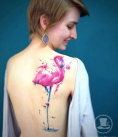 Large Watercolor Flamingo Tattoo on Back by Tavares