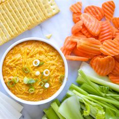 Five simple ingredients in your slow cooker make this creamy, cheesy, zesty hot dip that tastes just like Buffalo chicken wings. Buffalo Chicken Dip Recipe, Chicken Dips, Chicken Recipes, Ranch Chicken, Chicken Soup, Dip Recipes, Crockpot Recipes, Cooking Recipes, Recipies