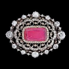 Platinum, tourmaline and diamond Russian Belle Époque brooch, c. 1900.