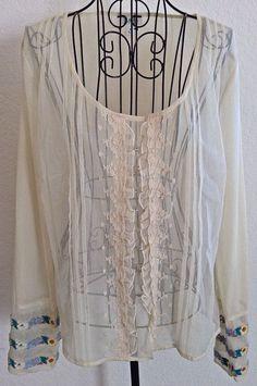 J Jill Embroidered Sheer Blouse Top Rhinestone Lace Ruffled Pleated Ivory Boho M #JJill #Blouse