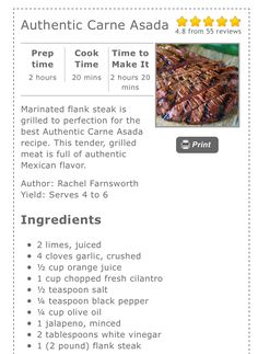 Carne Asada Marinade (Add lime and cumin) Skirt Steak Recipes, Pork Recipes, Carne Asada Recipes Easy, Cooking Recipes, Carne Asada Marinade, Mexican Steak Marinade, Carne Asada Fries, Carna Asada Recipe, Mexican Dishes