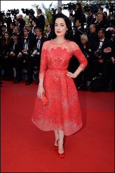 Dita Von Teese wears ELIE SAAB Haute Couture Spring Summer 2013 to the premiere of 'Cleopatra' at The 66th Annual Cannes Film Festival